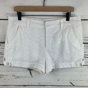 Free People White Lace Eyelet Button Fly Shorts